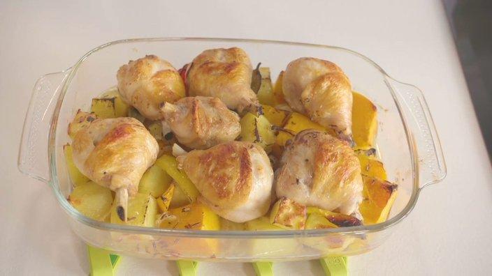 Курица с тыквой и картофелем