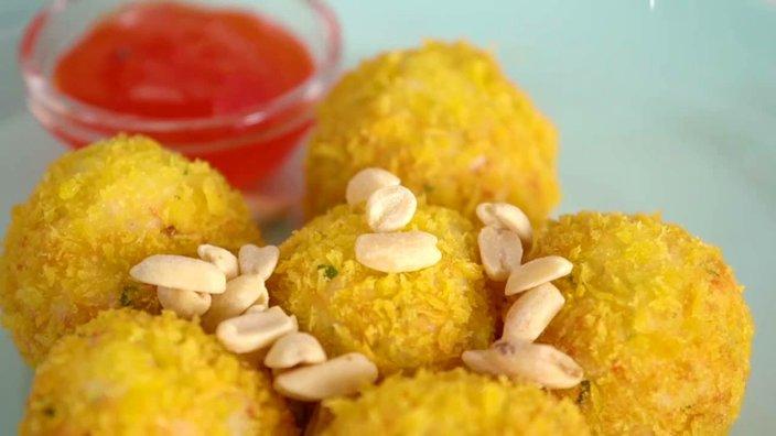 Хрустящие рыбные пончики с крабовыми палочками